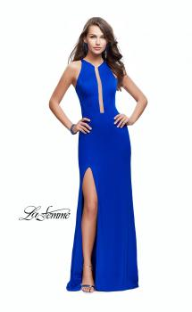 Picture of: High Neck Satin Gown with Leg Slit and Strappy Back in Sapphire Blue, Style: 25962, Main Picture