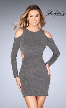 Picture of: Long Sleeve Short Dress with Shoulder Cut Outs in Silver, Style: 25306, Main Picture