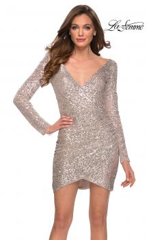 Picture of: Long Sleeve Party Dress with Cut Out Open Back in Silver, Style: 29427, Main Picture