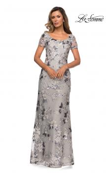 Picture of: Floral Short Sleeve Formal Dress with Scoop Neck in Silver, Style: 27991, Main Picture
