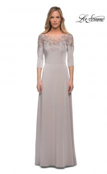 Picture of: Jersey Mother of the Bride Gown with Lace Neckline in Silver, Main Picture