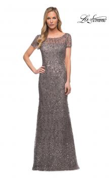 Picture of: Beaded Long Dress with Illusion Top and Sleeves in Silver, Main Picture