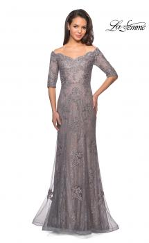 Picture of: Long Prom Gown with Scattered Lace Overlay in Silver Pink, Style: 24866, Main Picture