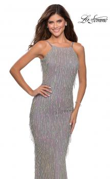 Picture of: Iridescent Fringe Prom Dress with Open Back in Silver, Style: 28517, Main Picture