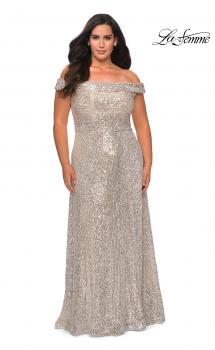 Picture of: Off the Shoulder Sequin Curvy Prom Dress in Silver, Style: 28988, Main Picture