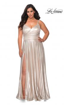 Picture of: Metallic Grecian Long Plus Size Prom Dress in Silver, Style: 28989, Main Picture