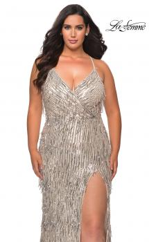 Picture of: Fringe Sequin Plus Size Prom Gown with Criss Cross Back in Silver, Style: 29013, Main Picture