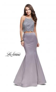 Picture of: Two Piece High Neck Prom Dress with Beading in Silve, Style: 26035, Main Picture
