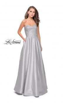 Picture of: Strapless Prom Gown with Sparkling Beading in Silver, Style: 26080, Main Picture