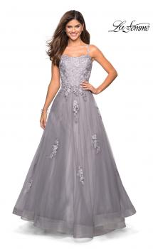 Picture of: Floor Length Tulle Ball Gown with Lace Accents, Style: 27441, Main Picture