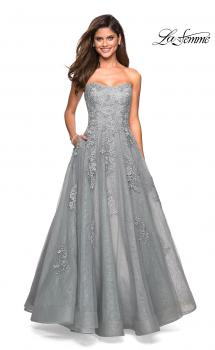 Picture of: Strapless Sweetheart Ball Gown with Lace Details in Silver, Style: 27493, Main Picture