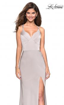 Picture of: Form Fitting Prom Dress with Slit and Beaded Straps in SIlver, Style: 27519, Main Picture