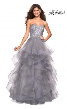 Picture of: Strapless Tulle Prom Gown with Lace Embellishments, Style: 27620, Main Picture