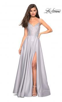 Picture of: Long Mikado Gown with Rhinestone Bodice and Slit in Silver, Style: 27634, Main Picture