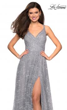 Picture of: Printed Sequin Dress with High Slit and Open Back in Silver, Style: 27715, Main Picture