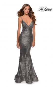 Picture of: Metallic Sequined Mermaid Dress with Lace Up Back in Silver, Style: 28469, Main Picture