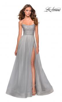Picture of: Long Tulle Ball Gown with Beaded Bodice and Slit in Silver, Style: 28530, Main Picture