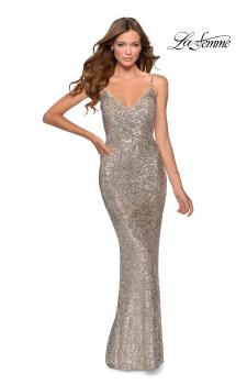 Picture of: Sequin Prom Dress with Cut Out Open Back in Silver, Style: 28657, Main Picture