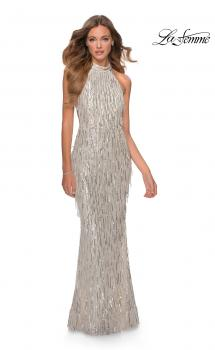 Picture of: High Neck Sequin Fringe Dress with Tie Up Back in Silver, Style: 28819, Main Picture