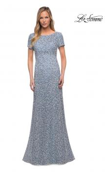 Picture of: Long Print Lace Dress with Short Sleeves in Slate Blue, Main Picture