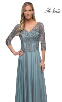 Picture of: Chiffon Dress with Sheer Lace Three-Quarter Sleeves in Slate Blue, Main Picture