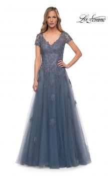 Picture of: Tulle A Line Gown with Lace Applique and V Neck in Slate, Main Picture
