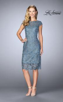 Picture of: Short Metallic Lace Dress with Sheer Top and Hem in Slate Blue, Style: 24861, Main Picture