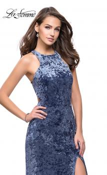 Picture of: Crushed Velvet Prom Dress with High Neckline and Leg Slit in Slate Blue, Style: 25734, Main Picture