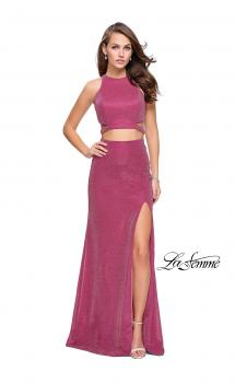Picture of: Glittering Two Piece Jersey Prom Dress with Side Leg Slit in Strawberry, Style: 25572, Main Picture