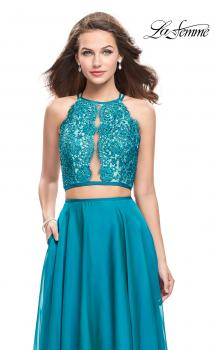 Picture of: Two Piece A-line Dress with Halter Neck and Beading in Teal, Style: 25843, Main Picture