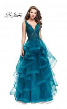 Picture of: Long Ball Gown with Cascading Ruffle Skirt and Lace in Teal, Style: 25982, Main Picture
