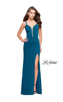 Picture of: Open Strappy Back Long Prom Dress with Deep V in Teal, Style: 26023, Main Picture