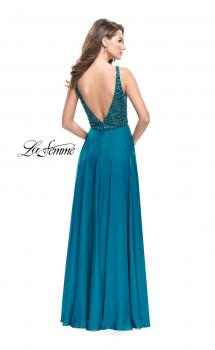 Picture of: A-Line Prom Gown with Chiffon Skirt and Beaded Bodice in Teal, Style: 26053, Main Picture