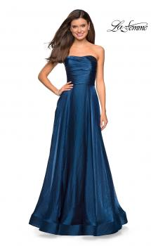 Picture of: Strapless Satin Gown with Ruching and Pockets in Teal, Style: 27130, Main Picture