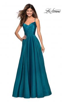Picture of: Long Satin Simple Prom Dress with Empire Waist in Teal, Style: 27226, Main Picture