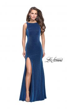 Picture of: Form Fitting Prom Gown with Leg Slit and Ruching in Turquoise, Style: 25884, Main Picture