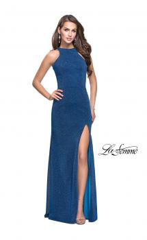 Picture of: Sparkling Jersey Prom Dress with High Neck and Slit in Turquoise, Style: 25908, Main Picture