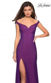 Picture of: Elegant Off the Shoulder Dress with Side Leg Slit, Style: 27587, Main Picture