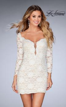 Picture of: Long Sleeve Lace Dress with Deep V Neckline in White, Style: 25038, Main Picture