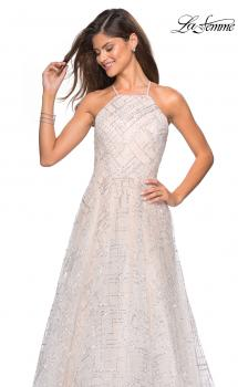 Picture of: High Neckline sequin A Line Prom Dress in White Nude, Style: 27451, Main Picture