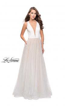 Picture of: A-line Prom Dress with Pearl Beading and a Tulle Skirt in White, Style: 25630, Main Picture