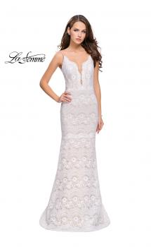 Picture of: Beaded Lace Prom Dress with Mermaid Skirt in White, Style: 26106, Main Picture