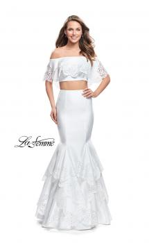 Picture of: Two Piece Off the Shoulder Prom Dress with Floral in White, Style: 26193, Main Picture