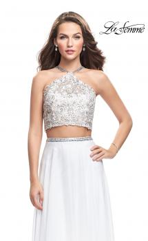 Picture of: Two Piece Dress with Chiffon Skirt and Lace Top in White, Style: 26288, Main Picture