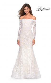 Picture of: Off the Shoulder Long Sleeve Lace Prom Gown in White, Style: 26393, Main Picture