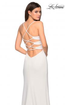 Picture of: Long Jersey Dress with Slit and Strappy Back in White, Style: 26940, Main Picture