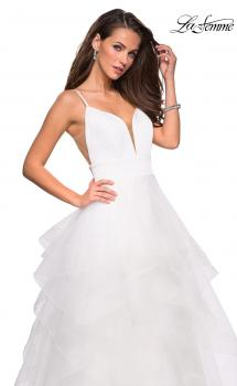 Picture of: Tulle A Line Dress with Plunging Sweetheart Neckline in White, Style: 27024, Main Picture