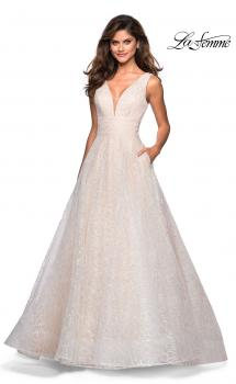 Picture of: Sequin Print Ball Gown with Deep V and Pockets in White, Style: 27323, Main Picture