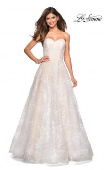 Picture of: Strapless Long Ball Gown with Floral Printed Design in White, Style: 27324, Main Picture