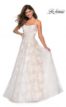 Picture of: Floor Length Lace Dress with Criss Cross Open Back in White, Style: 27448, Main Picture